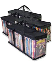 Clear Media Storage Bag Compatible with DVDs, Blu-Rays, Video Game Cases, VHS (40 DVD Capacity) with Dividers (Black, 4)