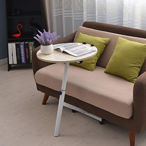 (Anewoneson Coffee End Tables Rotating Night Stand Adjustable Folding Round Side with Simple and Classic Design for Living Room and Bedroom (Shipped from USA) (White) )