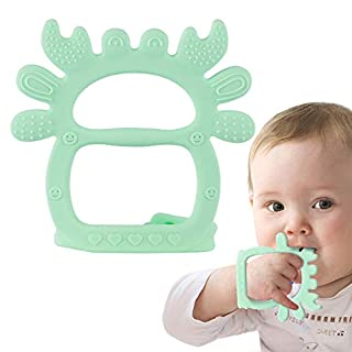 Airsnigi Baby Teething Toy, Silicone BPA Free Teething Toys for Babies 0-6 Months Green Crab Teether toy for Babies Adjustable Wristband Teething Relief for Babies 3 4 5 6 7 8 9 10 11 12 Months
