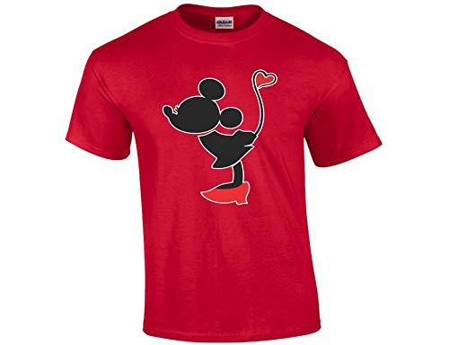 Couple Matching T-Shirt Mickey Mouse Minnie Mouse with Red Heart Sold Separetely 4XL Unisex -