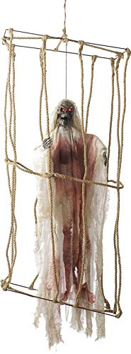 Smiffys Halloween Party Décor Animated Hanging Caged Skeleton - Caged Skeleton