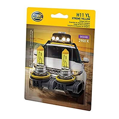 HELLA H11 YL Twin Blister Xtreme Yellow Bulb (12V 55W), 2 Pack: Automotive