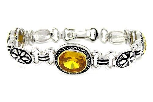 2-tone Bracelet w/Golden CZs