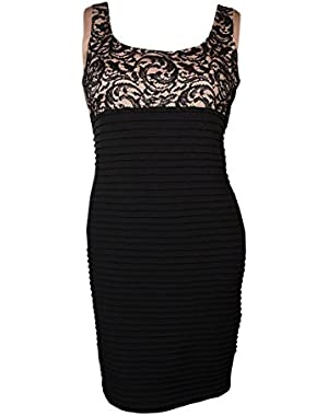 Calvin Klein Women's Scoop Neck Lace Pintucked Jersey Dress