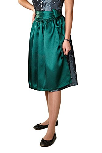 Dirndlschürze aus Seidensatin grün - dunkel grün midi zum Dirndl Trachtenkleid Trachtenmode für Damen