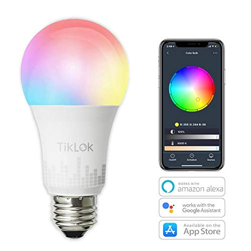 TIKLOK WiFi Smart Light Bulb, LED RGBW Color Changing, Compatible with Amazon Alexa and Google Home Assistant, No Hub Required, A19 E26 Multicolor