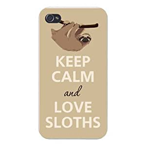 Iphone Custom Case 5 / 5s White Plastic Snap on - Keep Calm and Love Sloths