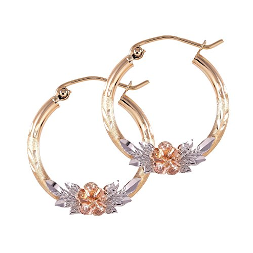 Balluccitoosi Tri Color Hoop Earrings - 14k Gold Earring for Women and Girls - Unique Jewelry for Everyday ()