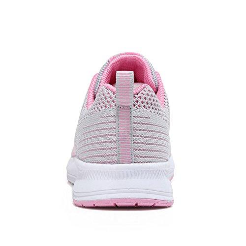 Schuhe Schnür Atmungsaktive 2 Damen Sportschuhe Low Gym Grau pink Top Laufschuhe ALI Turnschuhe Mesh amp;BOY 608HcxwX