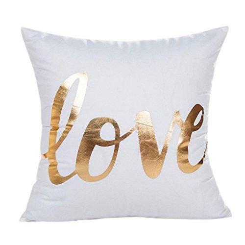 Clearance! Wearefin Gold Foil Printing Pillow Case Sofa Waist Throw Cushion Cover Home Decor (White G)