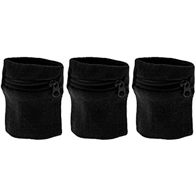 Pack Unisex Sweatbands Outdoor Sports Running Wrist Band Wallet with Zipper Pocket Black Estimated Price £4.48 -