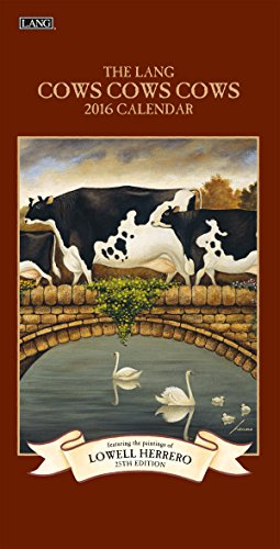 Lang Cows 2016 Vertical Wall Calendar by Lowell Herrero, January 2016 to December 2016, 7.75 x 15.5 Inches (1079129)
