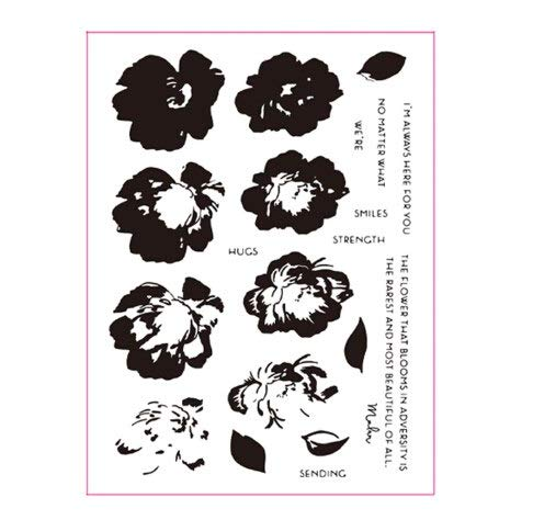 Smiles Blooms Transparent Clear Silicone Stamp Set Photo Album Card Making Decorative 6x8inch - Stamps