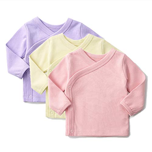 SYCLZ Unisex-Baby 100% Cotton Long Sleeve Side-Snap Shirts Soild Color Kimono Tees 0-12M (6-12M, Pink/Purple/Yellow)