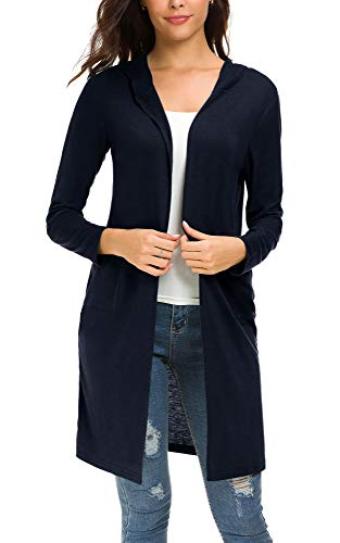 Urban CoCo Women's Classic Open Front Lightweight Long Hooded Cardigan (XL, Navy ()
