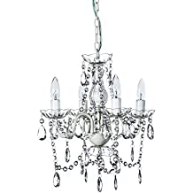 "The Original Gypsy Color 4 Light Small Crystal Chandelier for H 17.5"" x W 15"", White Metal Frame with Clear Poly-carbonate Crystals"