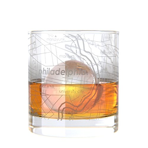 Uncommon Green Philadelphia Map Rocks Etched Whiskey Glass