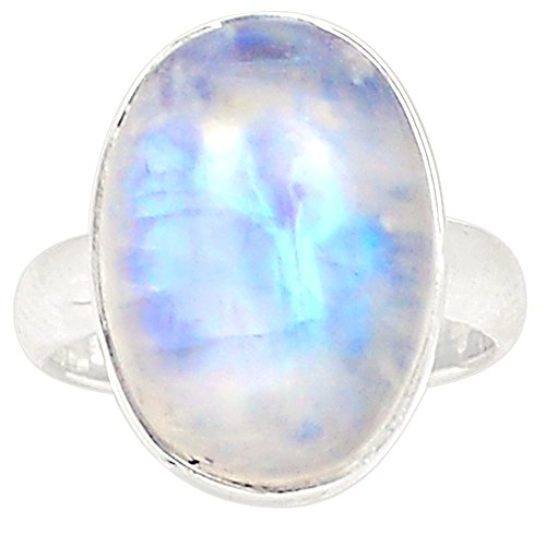 Lovegem Genuine BLUE FIRE MOONSTONE RING 925 Sterling Silver,Size:7.25, AR2642