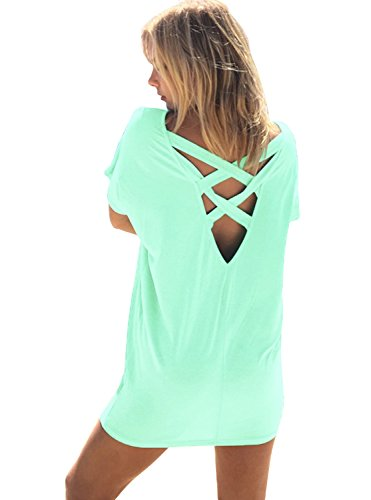 Yingkis Women Casual Summer Bikini Beach Shirt Dress Criss Cross Swimsuit Swimwear Bathing Suit Cover up,Lake Blue M