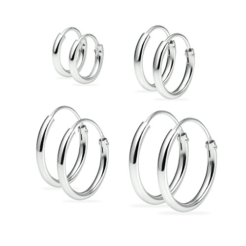 Sterling Silver Endless Hoop Earrings Set of 4 1.2mm x 8mm, 10mm, 12mm, 14mm Thin Round Unisex