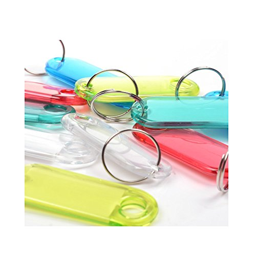 Vanki Pack of 50 Assorted Color Coded Key Tag with Label Window Ring Holder with LCD Cleaner Stylus ()