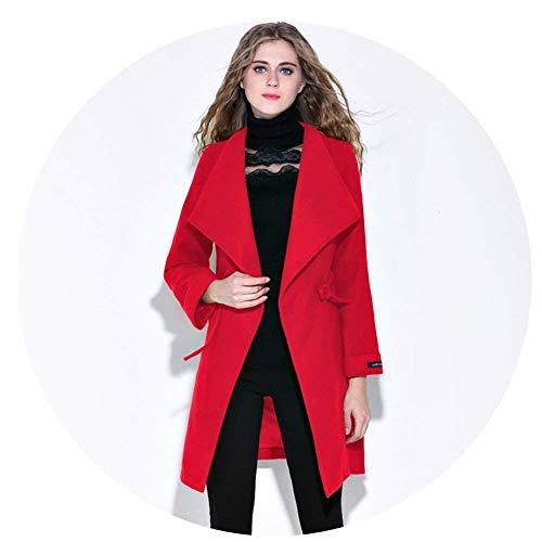 Lunga Manica Donna Invernali Laterali Rosso Trench Fit Qualità Di Tasche Colori Vento Giacca Slim Giaccone Coulisse Bavero Solidi Abbigliamento Alta Outerwear ppZqwFn6x