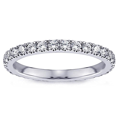 0.56 Ct Tw Diamond (0.56 CT TW Pave Set Diamond Eternity Anniversary Wedding Band in 18k White Gold - Size 3.5)