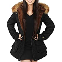 4How Womens Parka Jacket Hooded Winter Coats Faux Fur Coat Outdoor Army Green Black
