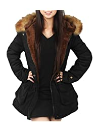 4How women Hooded Winter Coats Parkas Jacket Black Army Green US Size 06 08 10 12 14