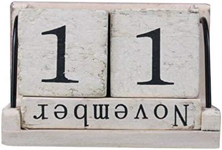 Supvox Dauerkalender Holz Tischkalender Holz Würfel Dauerkalender Tischkalender Weihnachtsgeschenk Babyzimmer Wohnzimmer Dekoration