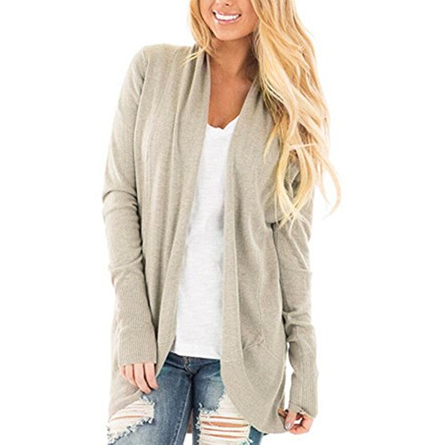 Sweater Beige Cashmere (Healthy_YIDAI Womens Casual Long Sleeve Knitwear Open Front Kimono Cardigan Pullover Sweater Blouses (L, Khaki))