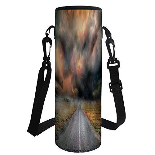 Water Bottle Sleeve Neoprene Bottle Cover,Lake House Decor,Dusty Storm Clouds and Lightning Over Highway in The Field Electrical Activity Print,Orange Grey,Fit for Most of Water Bottles by iPrint