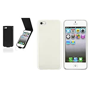 2x Blanco ICE Helado Premium Funda+Negro Dura Cuero Carcasa Para IPHONE 5 5th