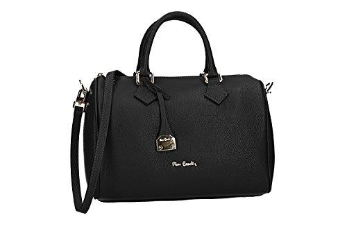 Bolsa de baúl mujer bandolera PIERRE CARDIN negro cuero Made in Italy VN2685