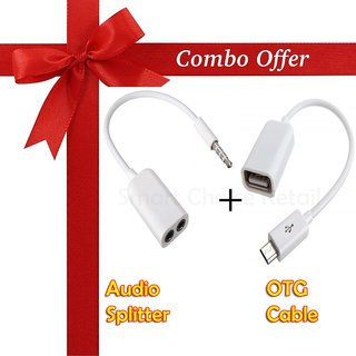 Signature 2 in 1 Mobile Accessories Combo Pack of OTG cable + Audio Splitter