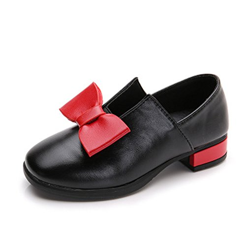 - Zarachielly Girls Non-Slip Look Comfortable Outdoor Solid Color with Grosgrain Bow-(Black 34/2.5 M US Little Kid)