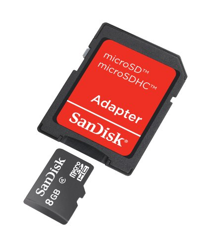 8GB Sandisk MicroSDHC Memory Card with SD Adapter 3 High storage capacity (8GB) for storing essential digital content such as high quality photos, videos, music and more Speed performance rating: Class 4 (based on SD 2.00 Specification) High Quality microSDHC card backed by 5 year limited warranty