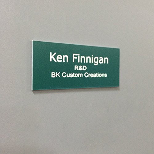 Office Nameplate Desktop or Wall Mount Custom Engraved Sign Select Your Size and Color - Pine Green/White Letters - 2