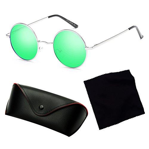 femmes hommes classique Lunettes lunettes rondes conduite rétro soleil métal polarisé juqilu C6 de q0S4wF
