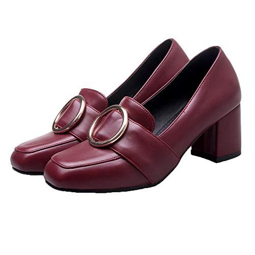 tacón Mujeres Medio Sólido Puntera Tacón AgooLar Burdeos Cerrada de Zapatos GMXDB008314 dq7R8W
