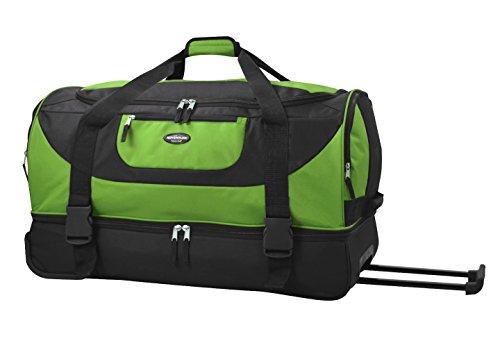 Club Duffle - Travelers Club Luggage Adventure 30 Inch Multi-Pocket Drop-Bottom Rolling Duffel, Green, One Size