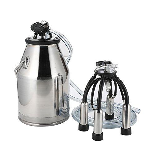 CO-Z 25L Portable Dairy Cow Milking Machine Milker Bucket Tank Barrel Stainless Steel (Silver)