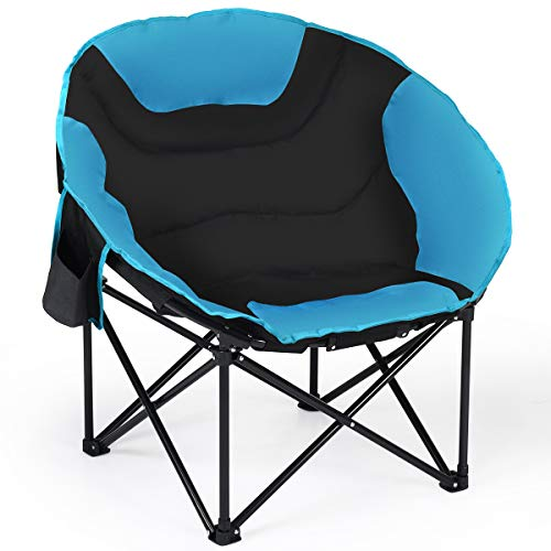 Giantex Folding Camping Chair Moon Saucer Chair Lightweight Sofa Chair Round Beach Chair with Soft Padded Seat, Cup Holder, Back Bag and Metal Frame Chairs for Hiking, Camping, Fishing or Picnic (Round Chair With Cup Holder)