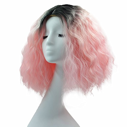 Melesh Hair Wig Womens Girls Party Halloween Costume Cosplay Cool Wave Curly Gradient Wig (Black/Pink - 30cm) -