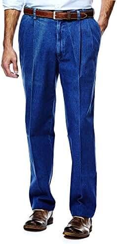 Haggar Mens Work to Weekend Denim Jeans - Pleated - Lt Stonewash 41114422486