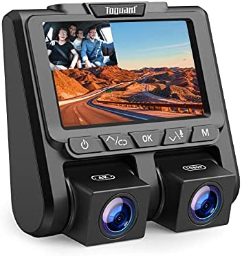 """TOGUARD 4K Dual Dash Cam 2160P+1080P Front and Inside Carbin Dash Camera for Cars with 3"""" LCD, Parking Emergency & Motion Detection, G-Sensor, Loop Recording"""