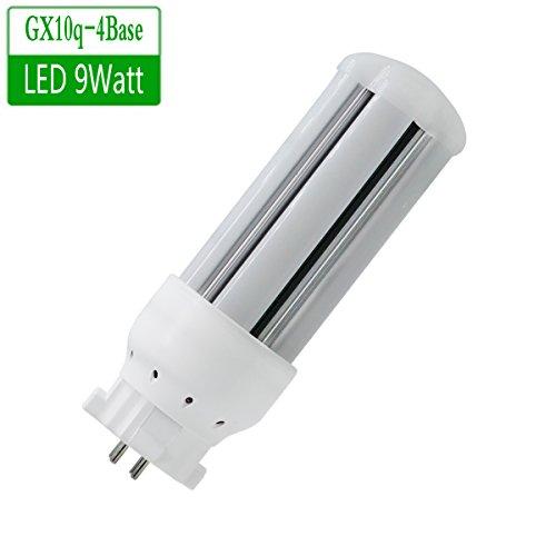 (LED GX10q-4 Light Bulb, 9Watt 980LM, gx10q-4 Base, Linear Quad Compact Fluorescent (CFL) Replacement Bulb (1 Pack) ... (White Color))