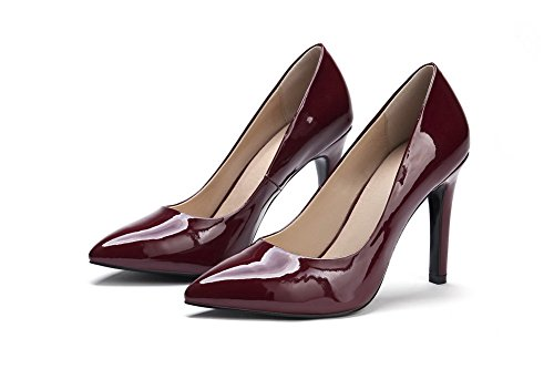 VogueZone009 Women's Spikes Stilettos PU Solid Pointed Closed Toe Pumps Shoes Claret WLf87vHt