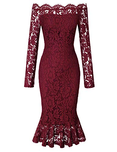 CHICIRIS Off The Shoulder Ruffle Flowers Printed Swing Dress for Women Wine Red XL]()