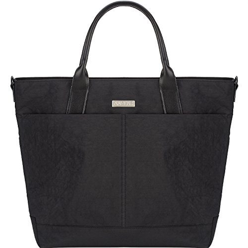 Amolar Laptop Bag for Women - Large Travel Work Tote Bag with Wheeled Luggage Pass-Through